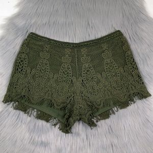 New Lace Crochet Olive Green Fringe Shorts